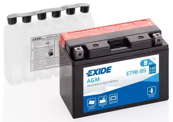 Стартерная аккумуляторная батарея| Стартерная аккумуляторная батарея EXIDE ET9B-BS - Фото #1